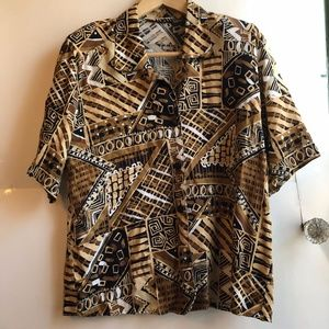 Tan Brown Geometric Aztec Tribal Boho Button Down